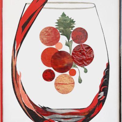 Weinglas farbig in Leder gestaltet